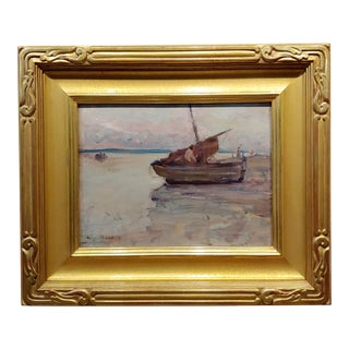 Clarence Hinkle 1932 Boats at Etoples Marina - Oil Painting For Sale