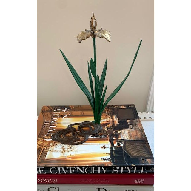 Antique French Daffodil Iron Brass Flower For Sale In New York - Image 6 of 8