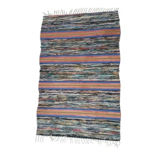 Swedish Handmade Rag Rug - 3′10″ × 5′8″ For Sale