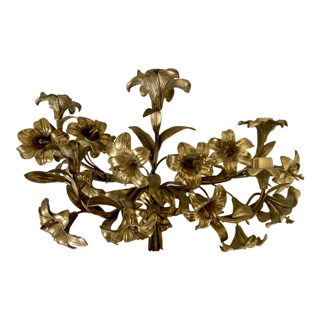 1950s Vintage Hollywood Regency Lily Brass Wall Sconce Candelabra For Sale