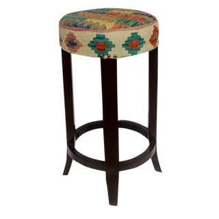 Dino Brown/Ivory Kilim Uphostered Handmade Bar Stool