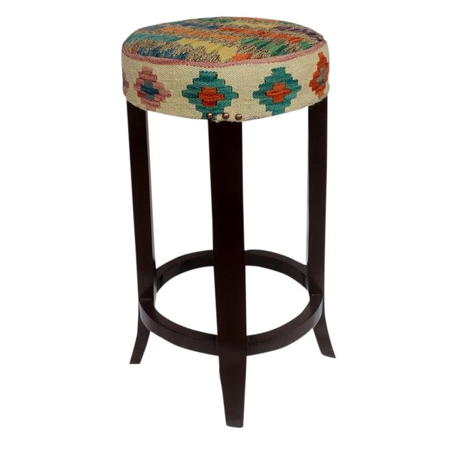 Dino Brown/Ivory Kilim Uphostered Handmade Bar Stool For Sale