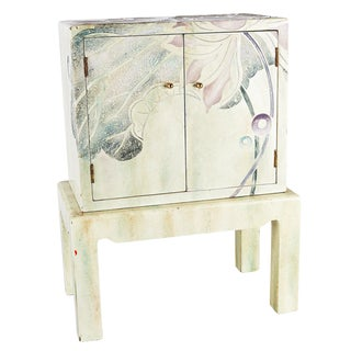 Hand Painted Petite Chest on Stand For Sale