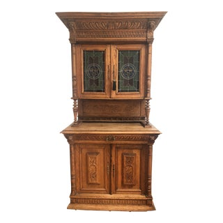 Antique Mechelen Carved Renaissance Oak Buffet With Stained Leaded Glass For Sale