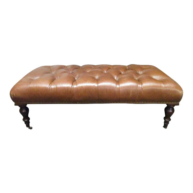 George Smith English Tufted Leather Bench For Sale