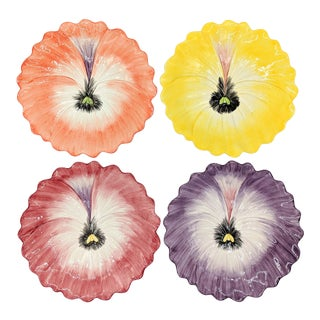 Vintage Fitz and Floyd Colorful Pansy Flower Luncheon /Snack Plates - Set of 4 For Sale