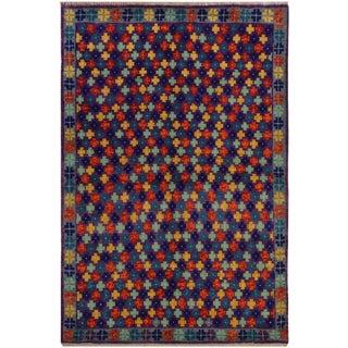 1990s Vintage Balouchi Georgean Purple/Blue Wool Rug - 3′4″ × 4′11″ For Sale
