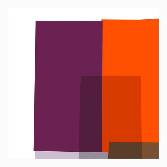"Purple and Orange Collage Fine Art Print 42"" X 60"" by Liz Roache For Sale - Image 4 of 5"