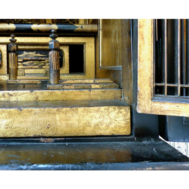 Metal Antique Monumental Japanese Buddhist Temple on Stand For Sale - Image 7 of 8