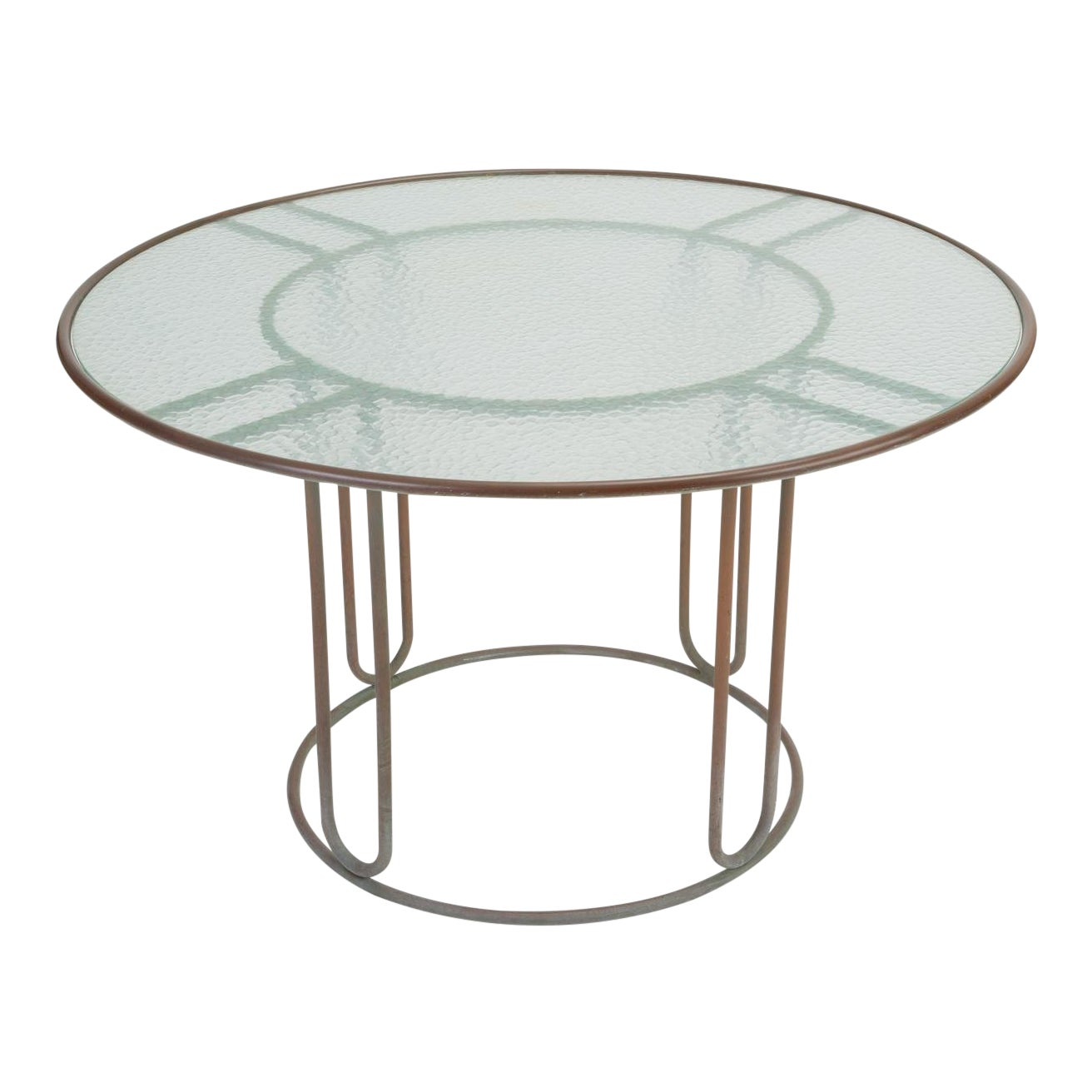 Sophisticated Round Patio Table With Oxidized Bronze Frame By