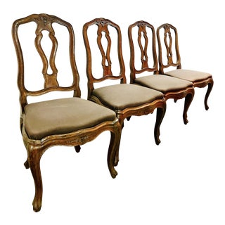 Carved Neoclassical Dining Chairs - Set of 4 For Sale