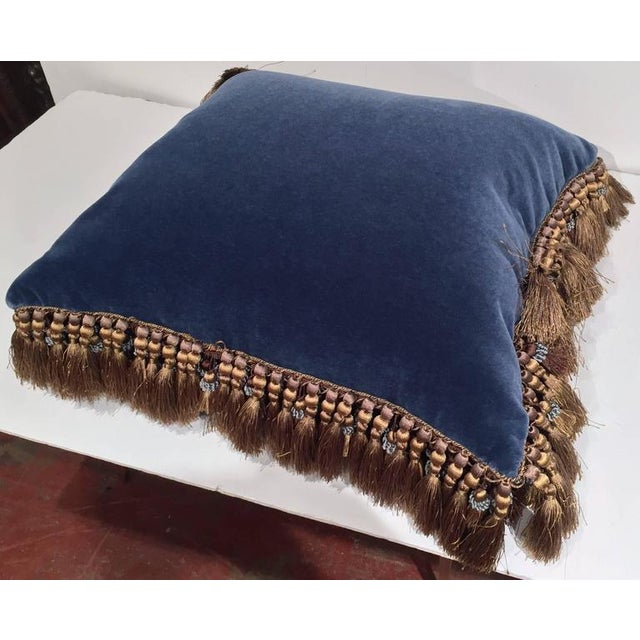 Blue French Custom Blue Velvet Pillow Handmade With 18th Century Aubusson Tapestry, Trims and Tassels For Sale - Image 8 of 10
