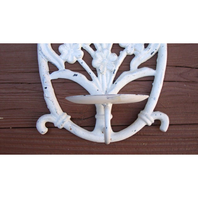 Painted White Cast Iron Floral Candle Sconces - 2 - Image 9 of 11