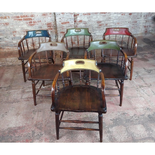 Antique Captain Old West Gambling Arm Chairs -Set of 6 set of 6 turn of the century English Captain Chairs each with...
