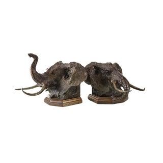 Sandy Scott Bronze & Wood Mounted Elephant Bookends - A Pair