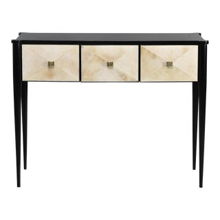 Bespoke Ebonised Console With Vellum Drawers For Sale