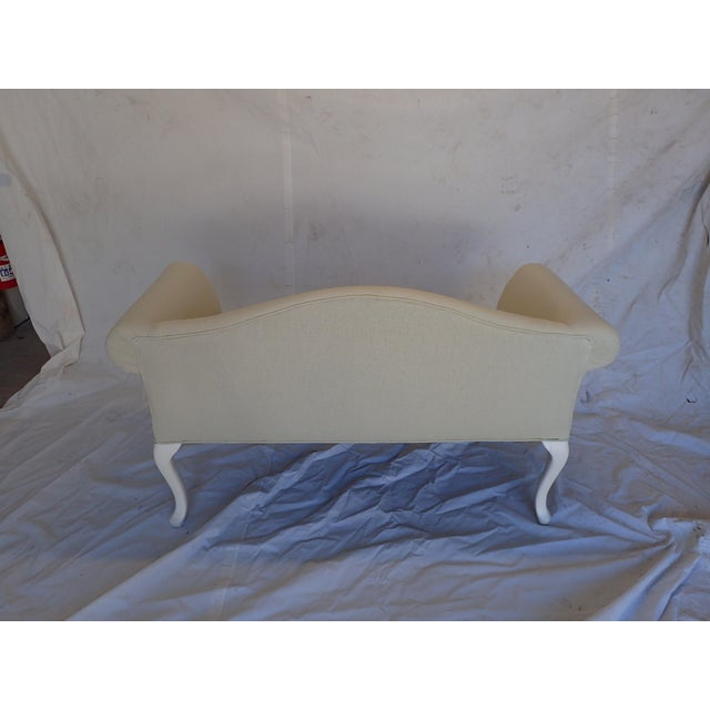 Fabric French Style Beige Settee For Sale - Image 7 of 8
