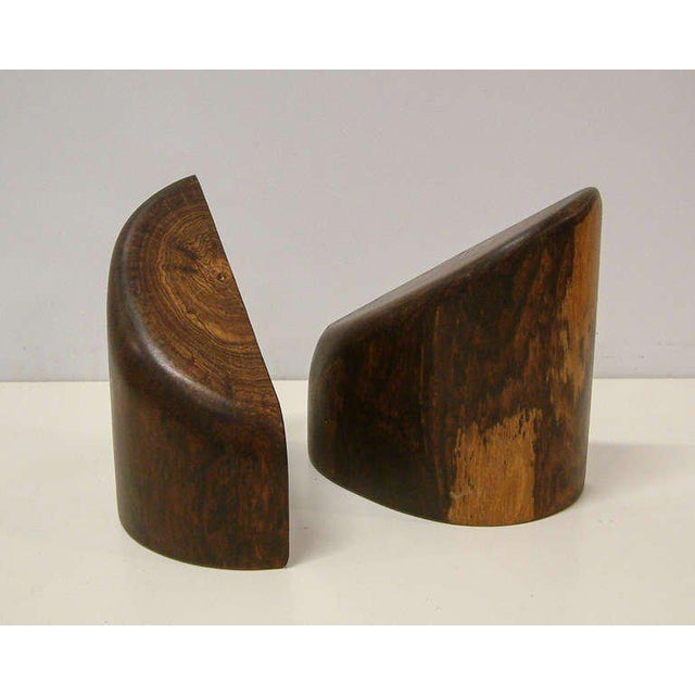 Mexico 1960 A striking pair of Cocobolo bookends by American expatriate Don Shoemaker, produced at the CraftArtist studio...
