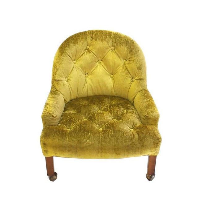 Green Pair of Gold Tufted Velvet Upholstery Vintage Barrel Back Slipper Lounge Chairs For Sale - Image 8 of 8