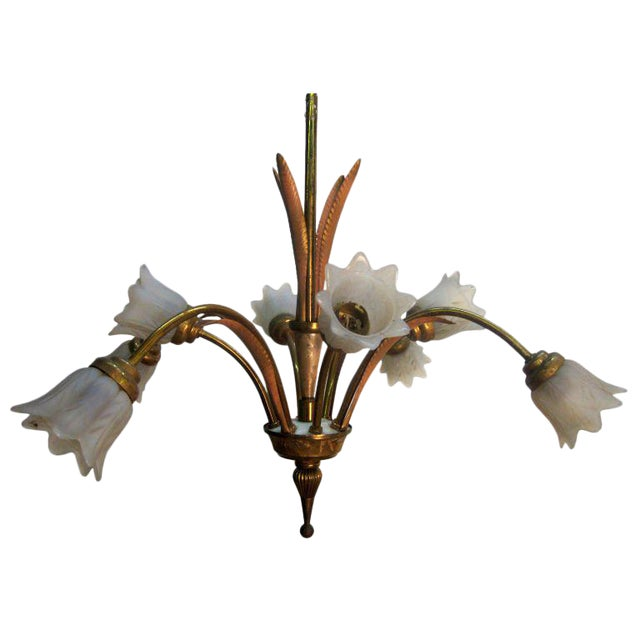 Italian Bronze and Glass Chandelier or Light Fixture For Sale
