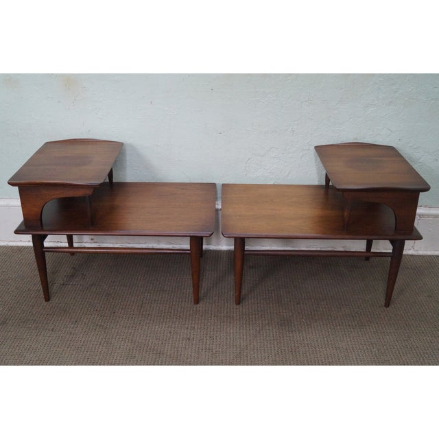 bassett mid century modern 2 tier step end tables a pair chairish. Black Bedroom Furniture Sets. Home Design Ideas