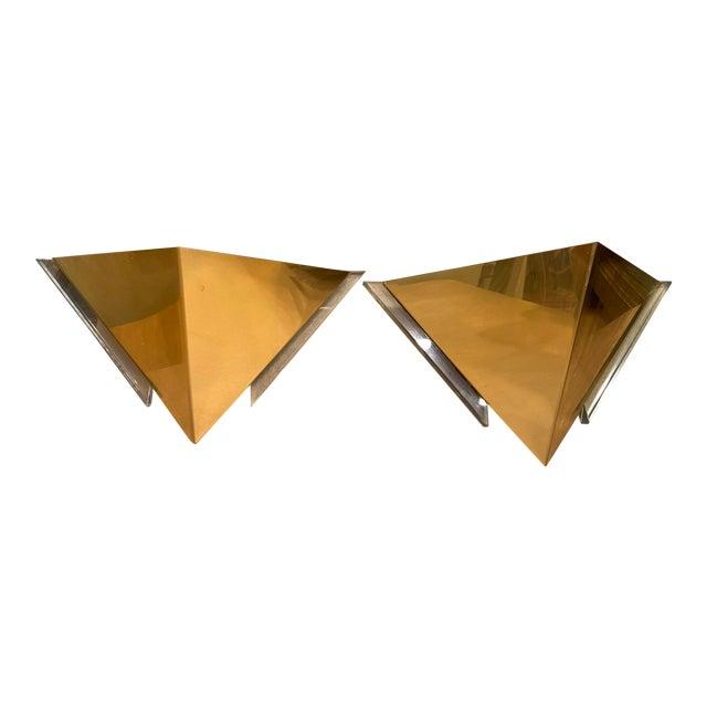 Vintage 1980s Robert Sonneman for George Kovacs Brass Sconces - a Pair For Sale