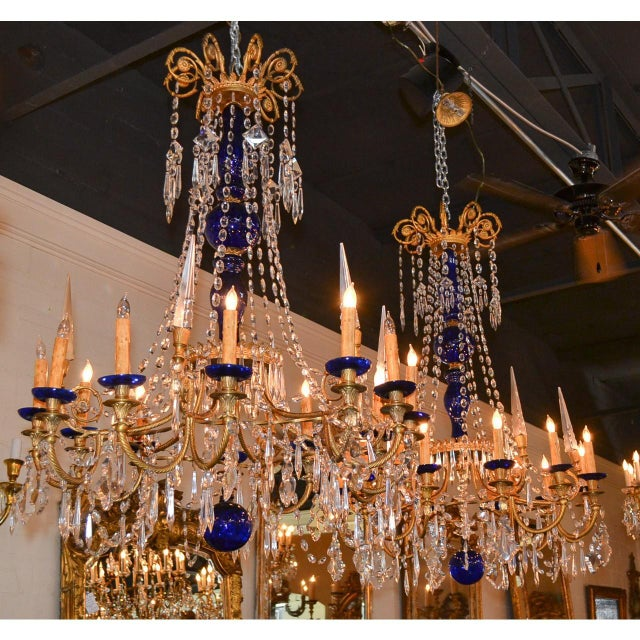 Blown Glass 19th Century Pair of Russian Bronze, Crystal, and Cobalt Chandeliers For Sale - Image 7 of 9