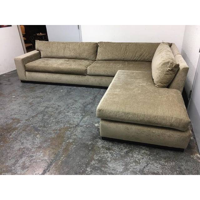 Cisco Furniture Green Velvet Two Piece Sectional For Sale In San Francisco - Image 6 of 11