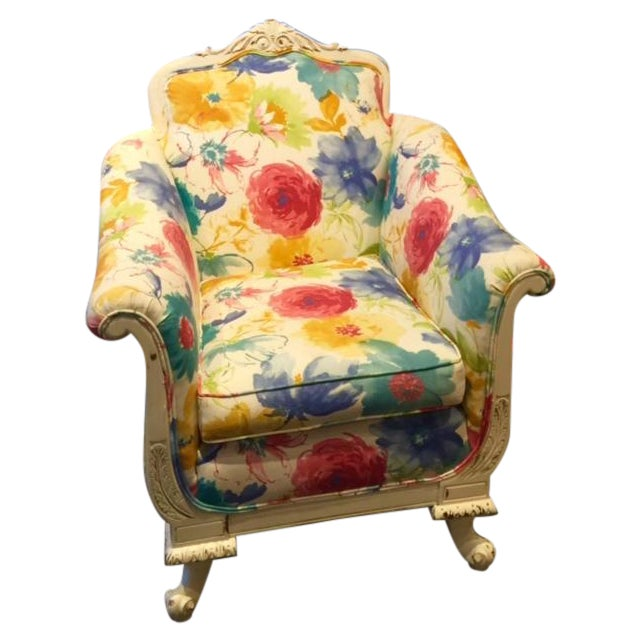 Floral and Plaid Club Chair - Image 1 of 4