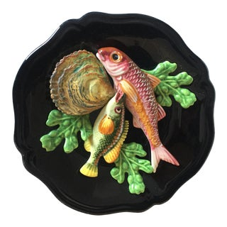 Vallauris Palissy French Majolica Trompe l'Oeil Seafood Plate