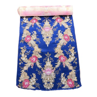 Royal Blue Gold Embroidered Floral Silk Brocade Textile For Sale