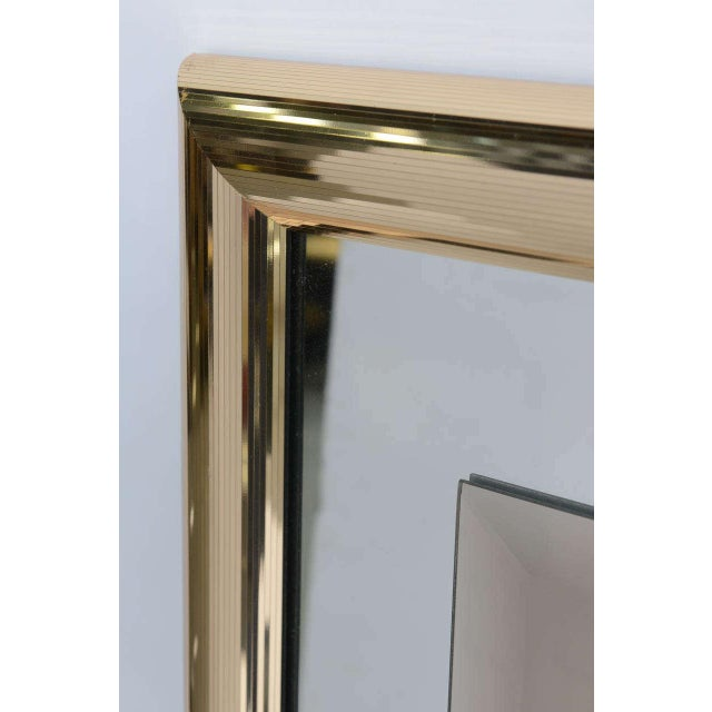 1970s Modern Faceted Brass Mirror With Center Bronze Mirror. - Image 6 of 8