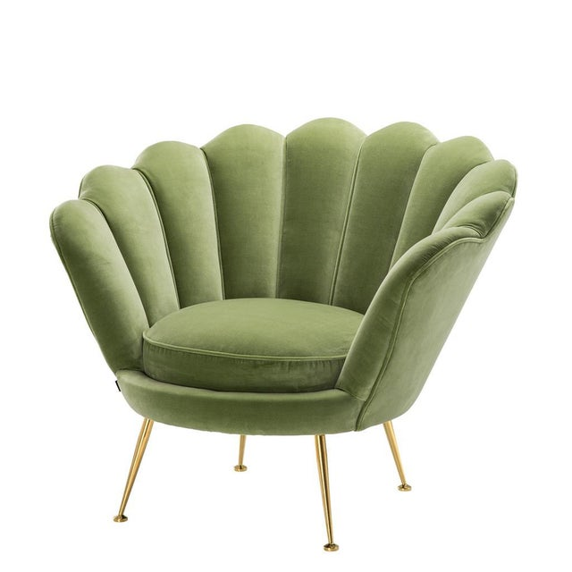 Brass Modern Trapezium Green Shell Shaped Chair For Sale - Image 7 of 8