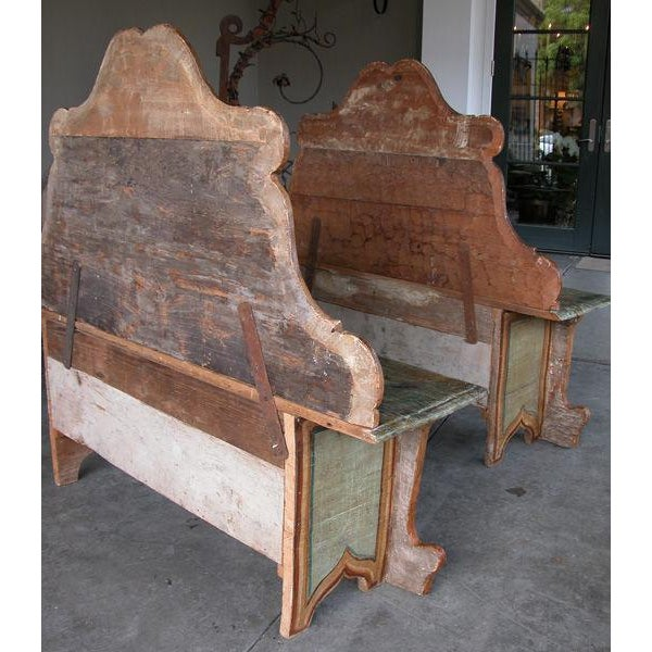 A Fanciful Venetian Baroque Style Pine Polychromed Highback Bench For Sale - Image 10 of 10