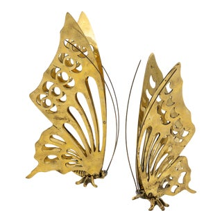 Vintage Brass Butterfly Figurines- a Pair For Sale