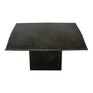 Square Black Granite Pedestal Base Coffee Table For Sale