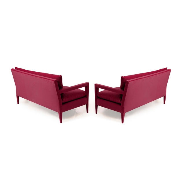 1970's style Parson's Sofas with stunning stiletto legs - newly upholstered in a hardy Dusty Pink Cotton velvet. Seat and...