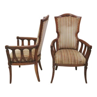 French Style Carved Armchairs - A Pair