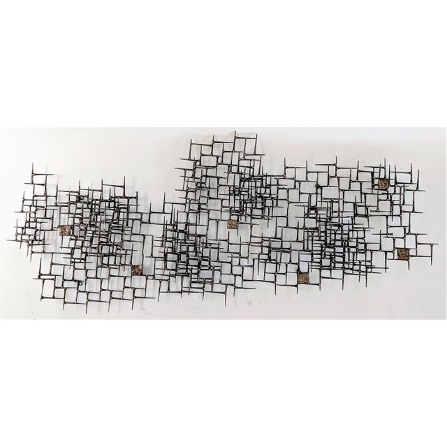 Abstract Nail & Bronze Wall Jere Style Sculpture For Sale - Image 12 of 12