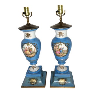 Neoclassical 18th Century Porcelain Lamps - A Pair For Sale