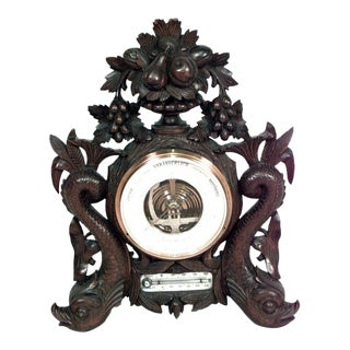 English Regency Carved Walnut Barometer For Sale