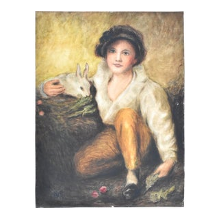 """Sir Henry Raeburn """"Boy With Rabbit"""" Painting 1921 Pastel Copy For Sale"""