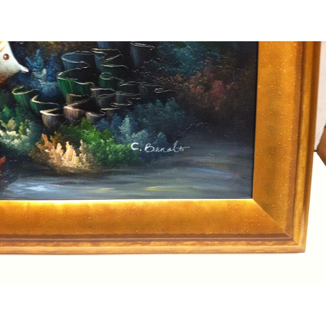 """Late 20th Century C. Benolt """"Tropical Fish"""" Framed Original Painting For Sale - Image 4 of 7"""