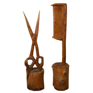 Folk Art Carved Wood Scissor & Comb