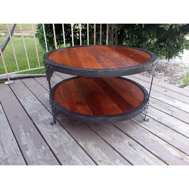 Industrial Farmhouse Round 2 Tier Reclaimed Chestnut Wood & Steel Coffee Table For Sale - Image 13 of 13