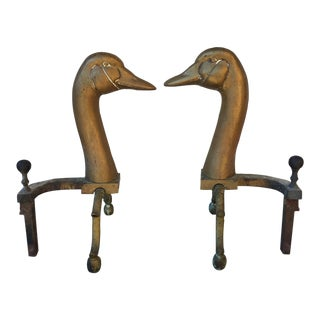 Vintage Early Brass Swan Andirons - A Pair For Sale
