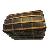 Image of Antique Leather & Wood French Dome Trunk For Sale