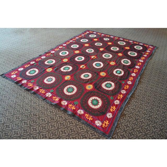 Big Size Colorful Suzani Bedspread - Image 3 of 6