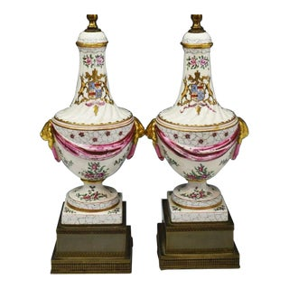 Pair of Antique Samson Porcelain Armorial Crest Urn Form Table Lamps - Crawford For Sale