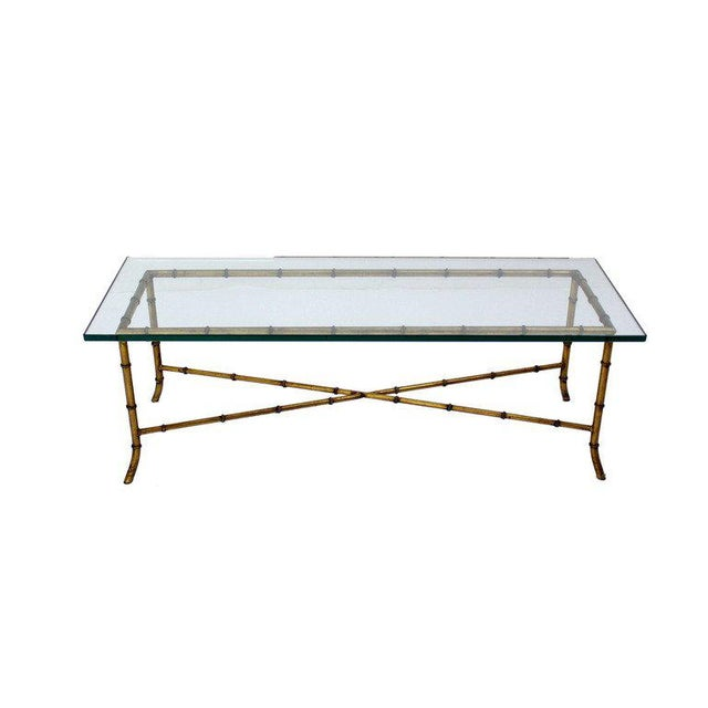 Mid-Century Modern X Base Rectangular Mid Century Modern Gilt Faux Bamboo Glass Top Coffee Table For Sale - Image 3 of 9